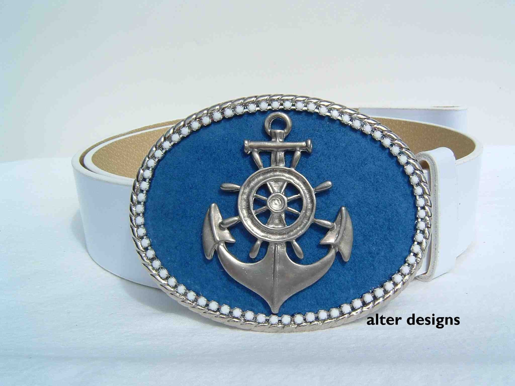 Nautical Anchor Belt Buckle - Navy Blue and White Preppy Resort Wear - Delta Gamma