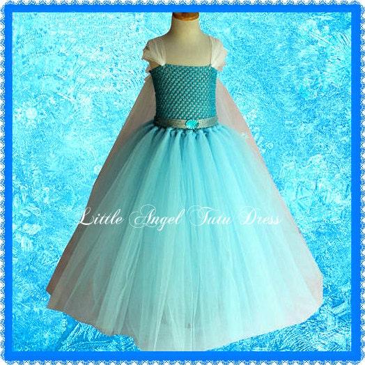 Disney Inspired Frozen Elsa Tutu Dress. Handmade Princess Dress. Snowflake Cape. Girls Princess Dress. Birthday Party Dress  Lined Top