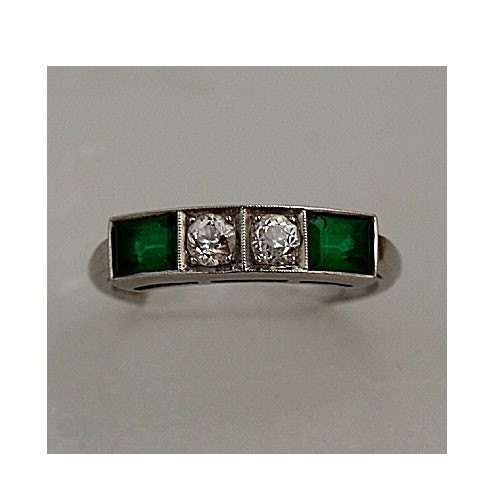 1920s Platinum Diamond and Emerald Ring