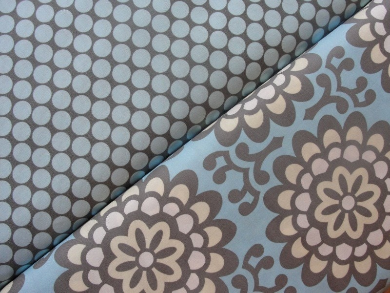 Amy Butler Fabric-Lotus-Full Moon Polka Dot and Wall Flower-Full Yard Set-2 Yards Total