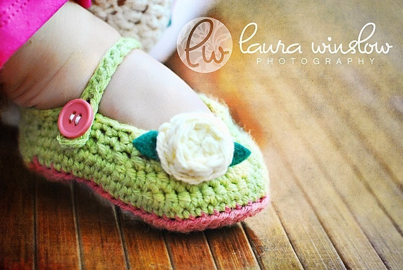 Hannah Mary Jane Crochet Shoes 3-6 months