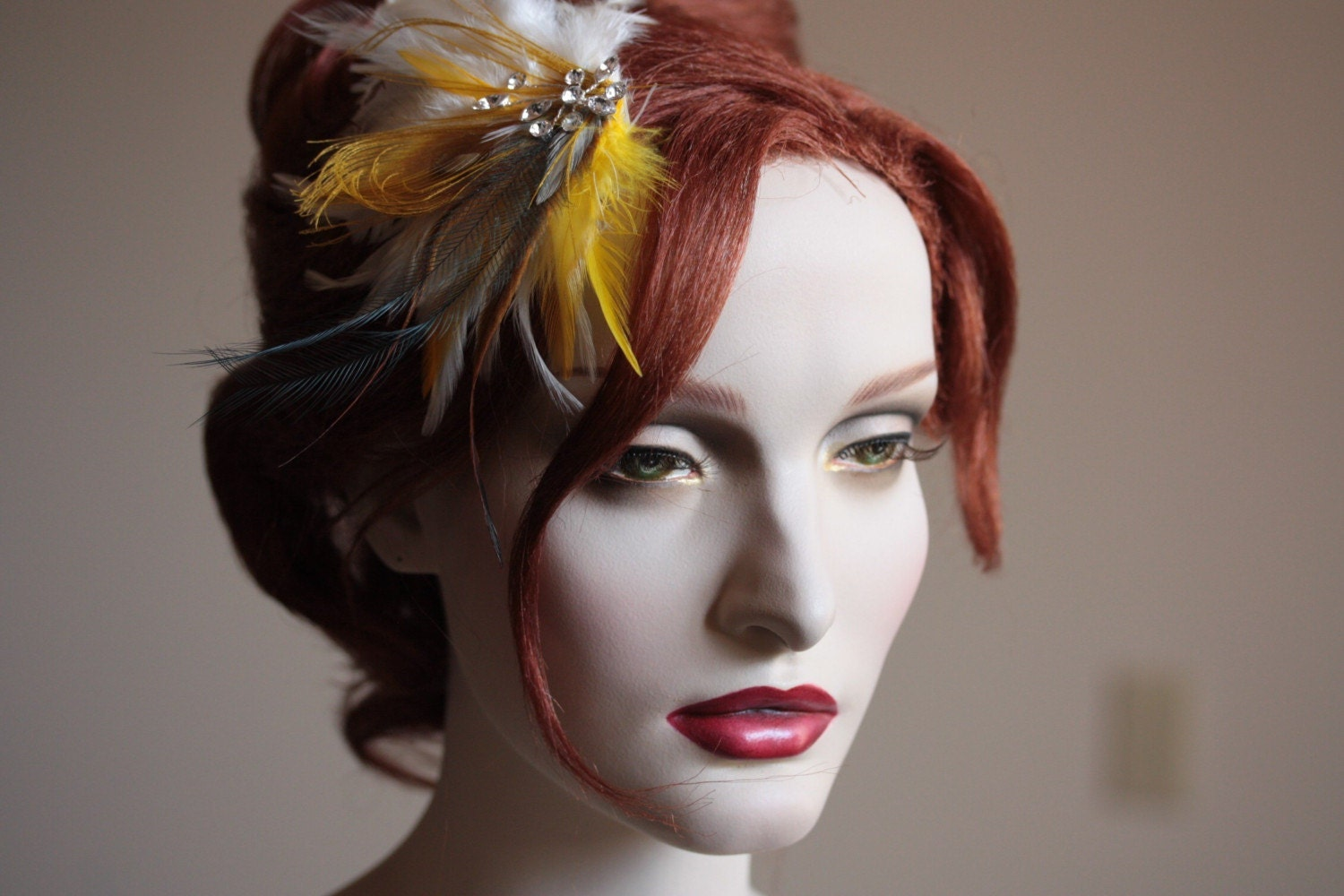 Golden Yellow Peacock Bridal Feather Fascinator