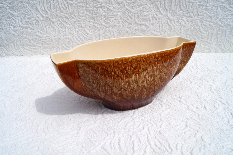 Vintage wide china vase  brown pattern around the vase  New Devon England