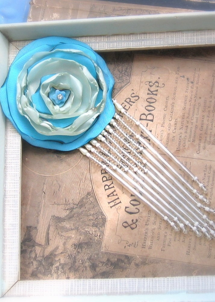 Flower Brooch Forgotten Ball Gown with  Glass Fringe