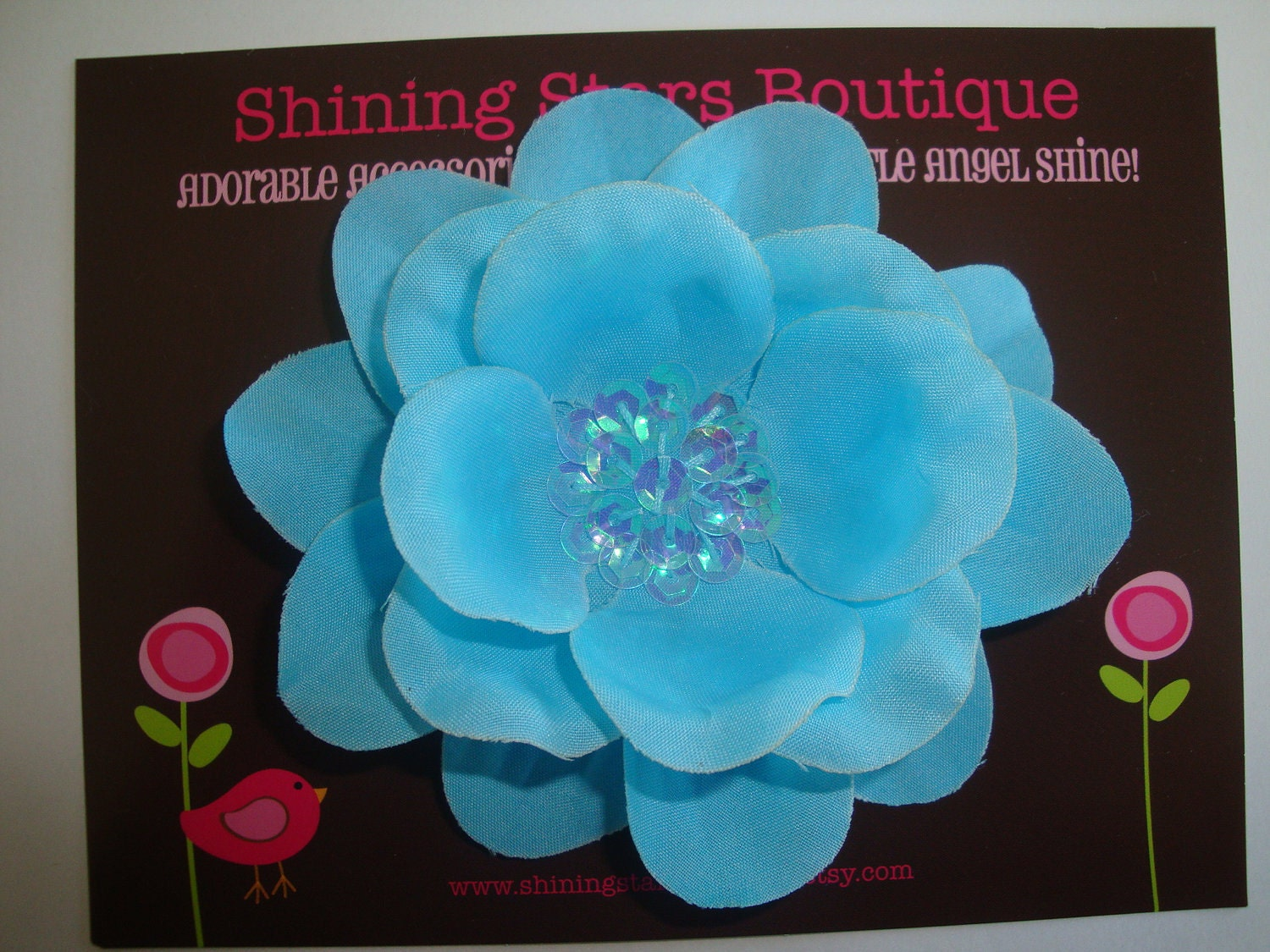 Toddler Hair Accessories - Turquoise Blue Layered Boutique Silk Flower Blossom With Sequin Center
