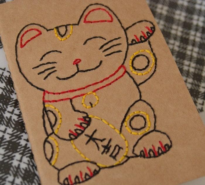Maneki Neko - Hand Embroidered Pocket Cahier Notebook