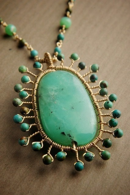 Maya Necklace in Gold fill with Chrysoprase, Turquoise