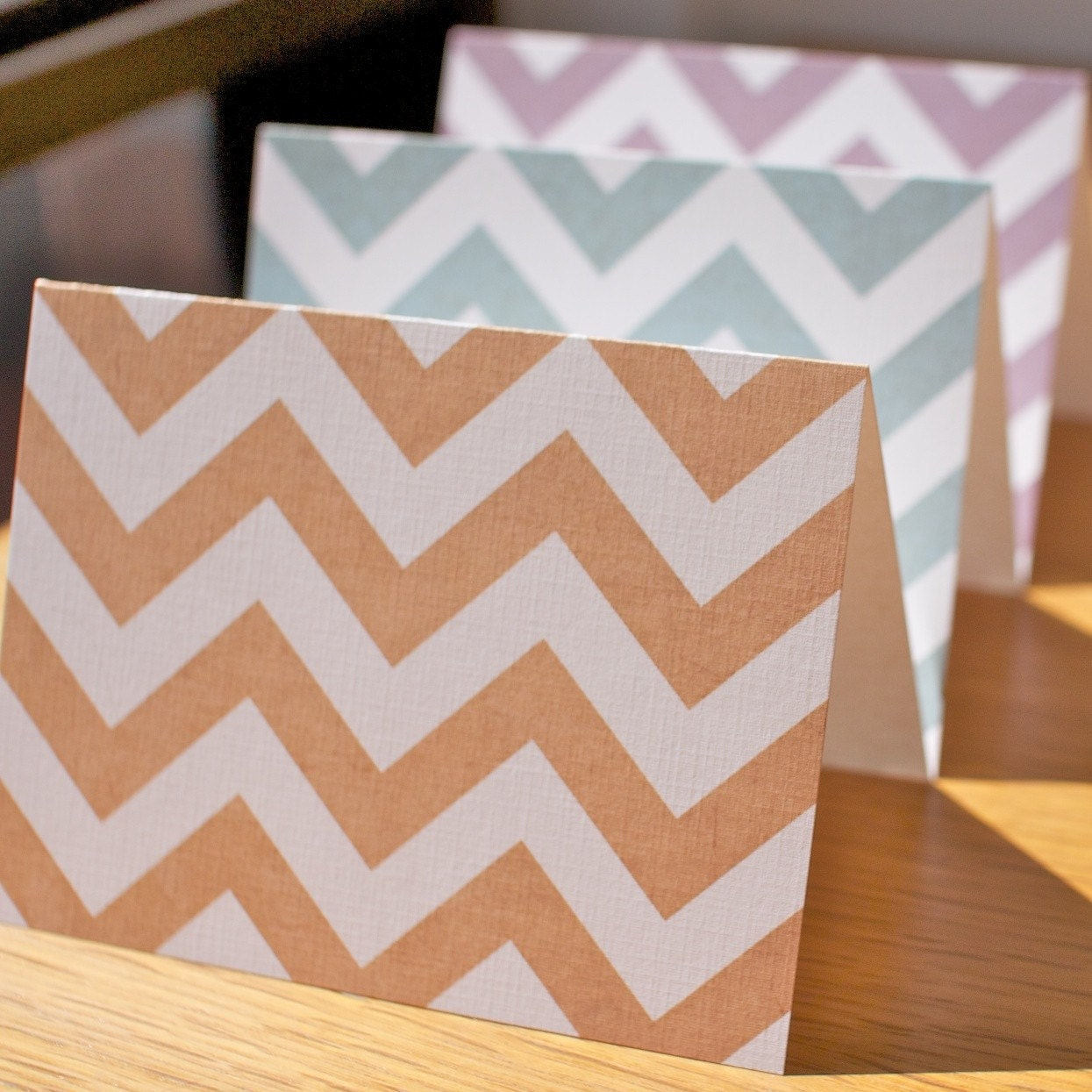 Grungy Chevron Striped Folded Note Cards