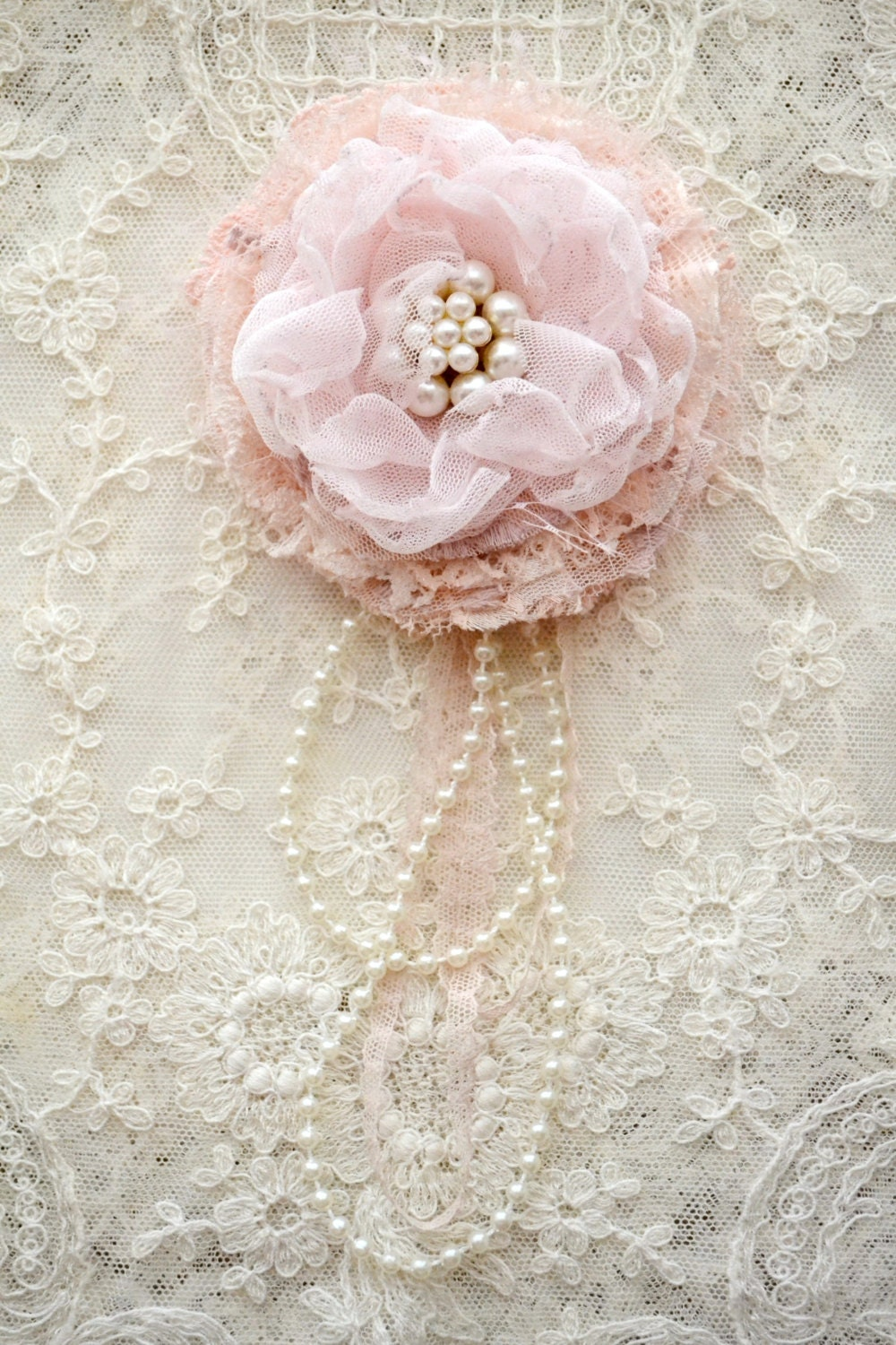 Large PINK Gillyflower - Handmade lace flower