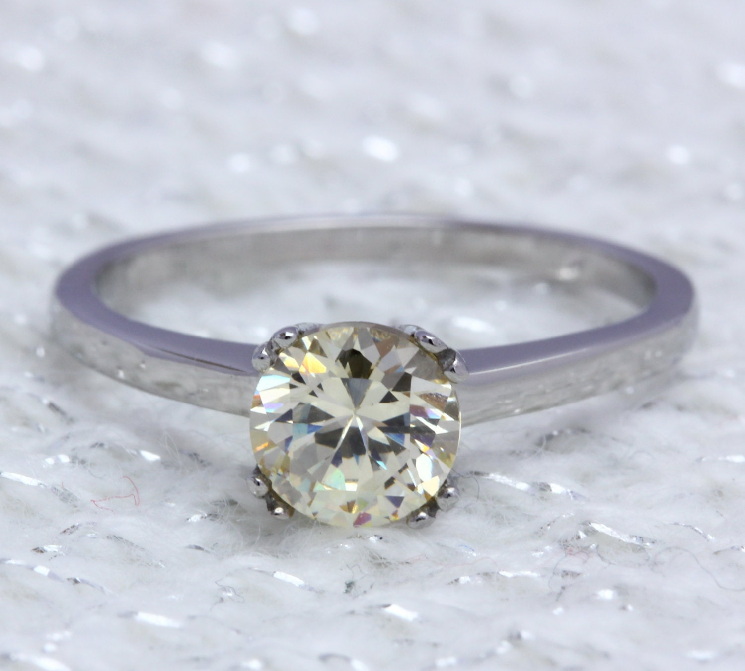 Genuine 1ct Citrine solitaire ring in Titanium or White Gold  engagement ring  wedding ring  handmade ring
