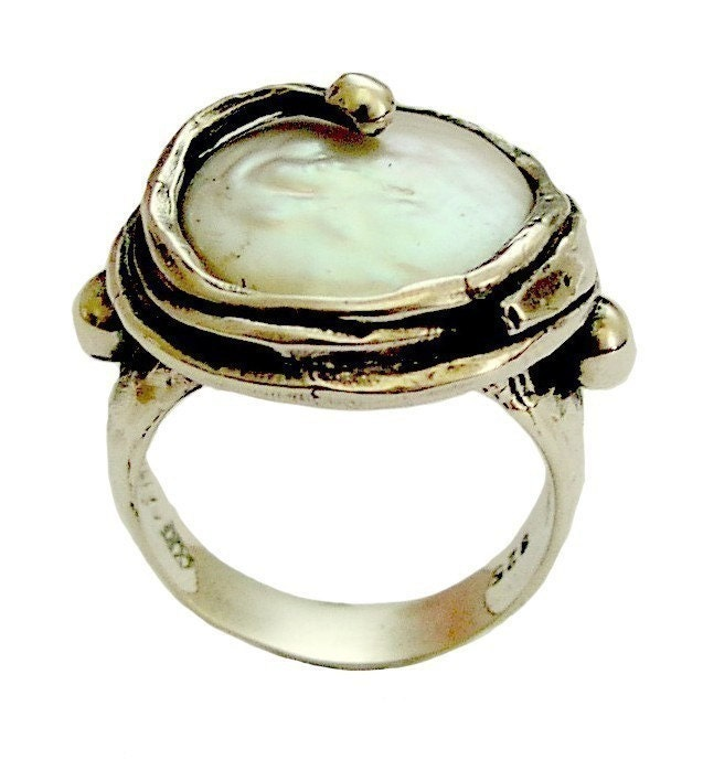 pearl ring sterling silver statement by artisanimpact