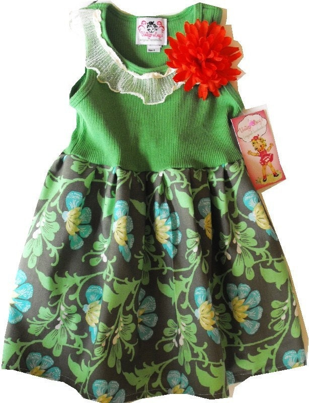 TANGERINE FLORAL GIRLS DRESS - Size 3 mos up to 12 youth - TANK TOP STYLE