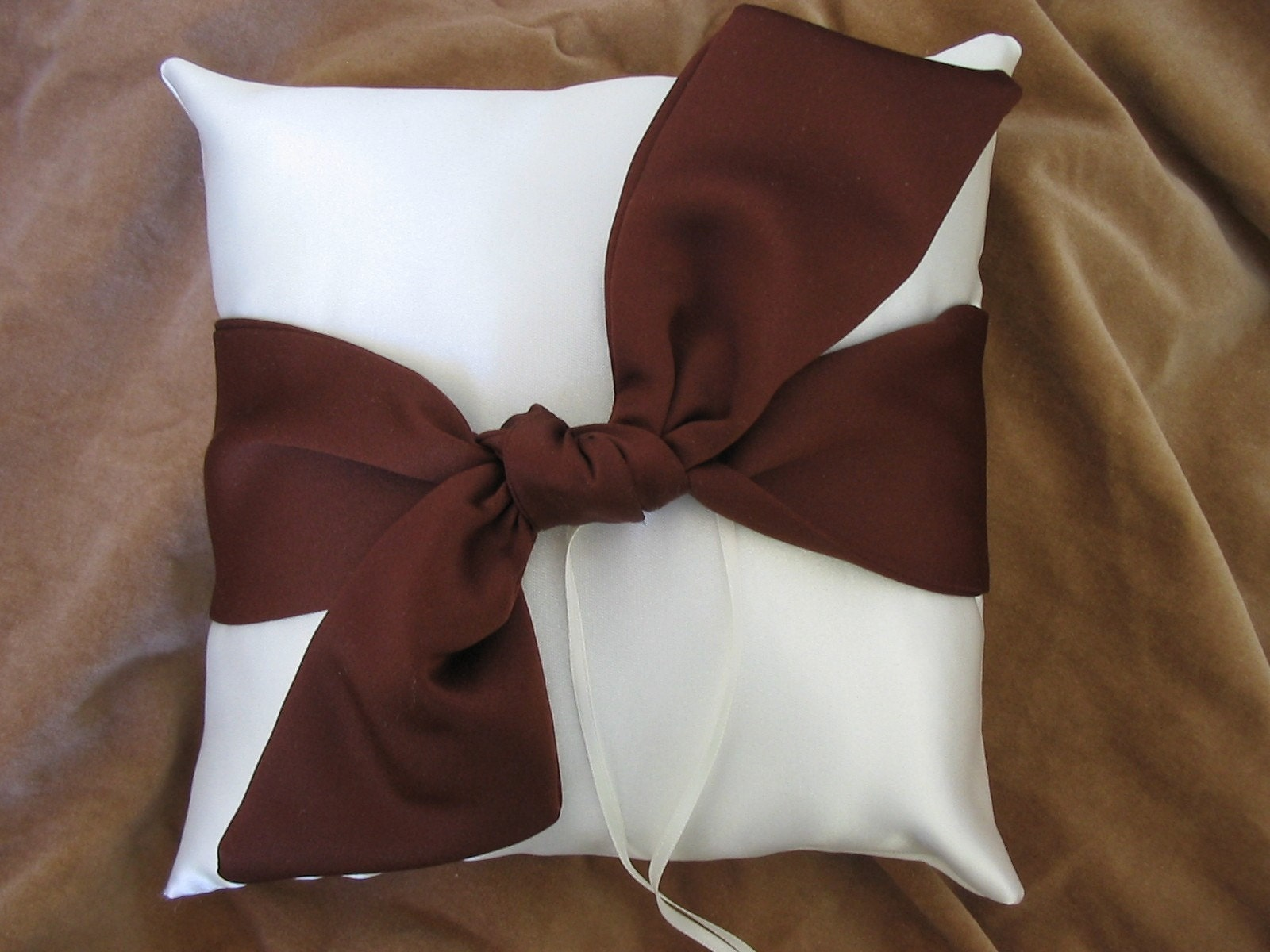 Ivory Chocolate Brown Satin Wedding Ring Pillow