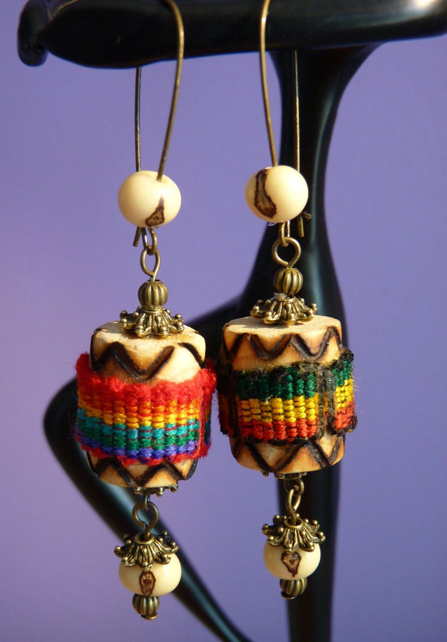 Wood Earrings Drums Multicolor Antique Bronze same but different