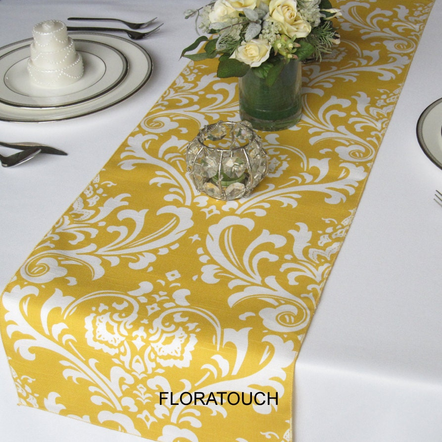 Traditions Table runner floratouch by on White Yellow yellow Damask wedding Wedding table