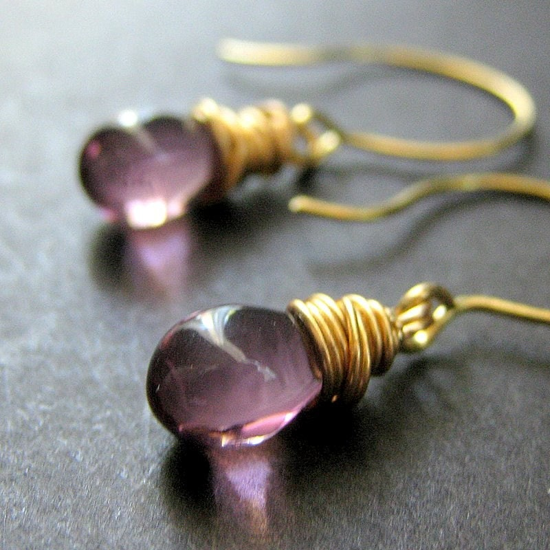 Amethyst Glass Teardrop Wire Wrapped Earrings in Gold - Elixir of Mystery