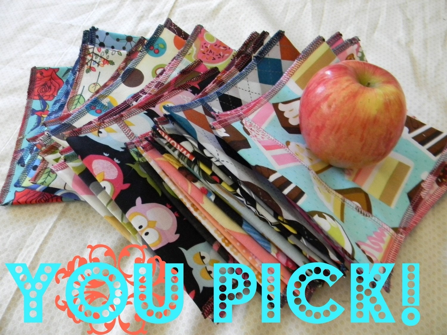Reusable Ecofriendly Snack Bag -  U PICK Set of 6 - Fast Ship