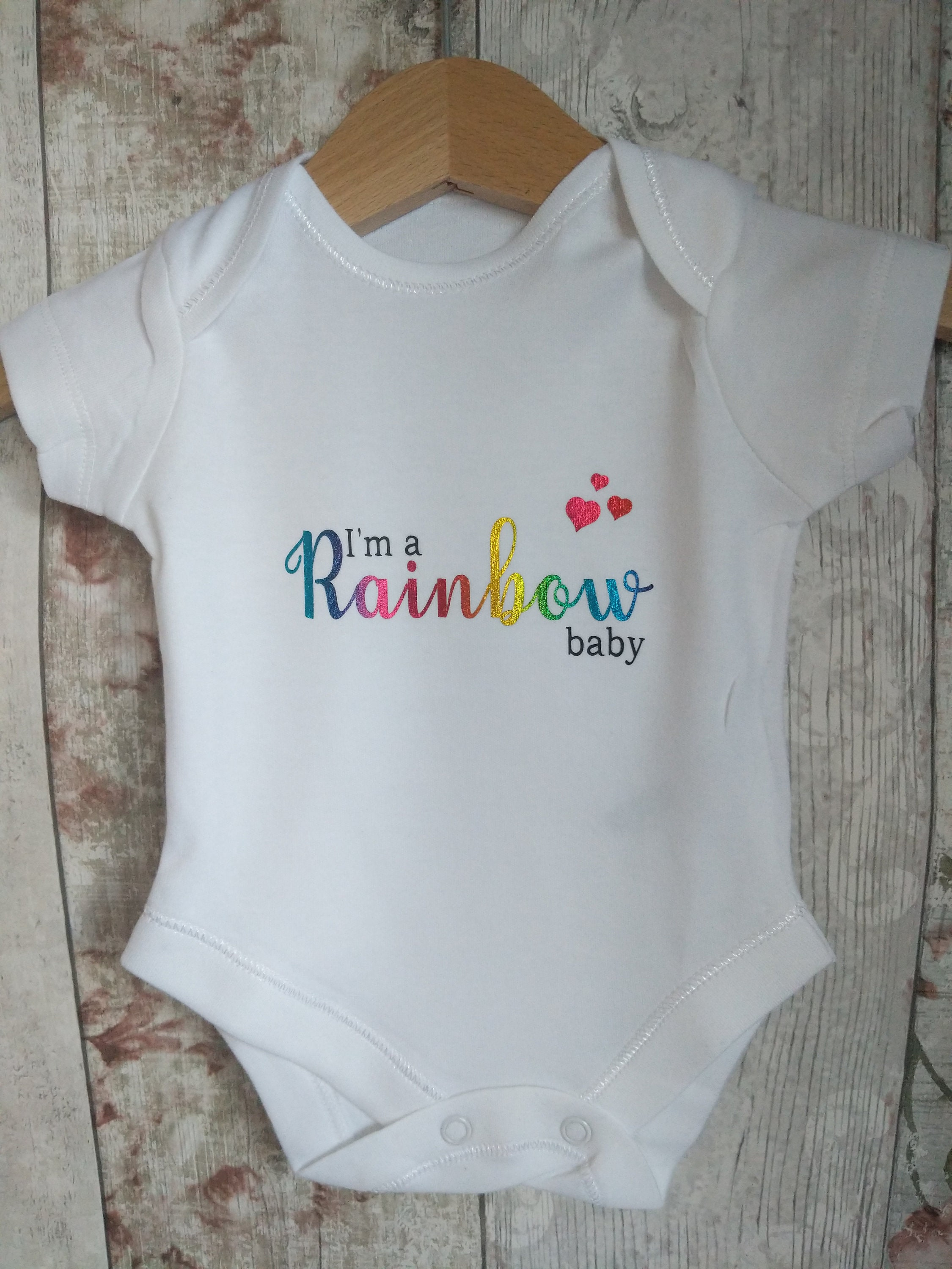 Personalised unisex baby grow, rainbow baby grow, new dad present, rainbow after storm, cute baby grow, baby dad daddy, new dad gift