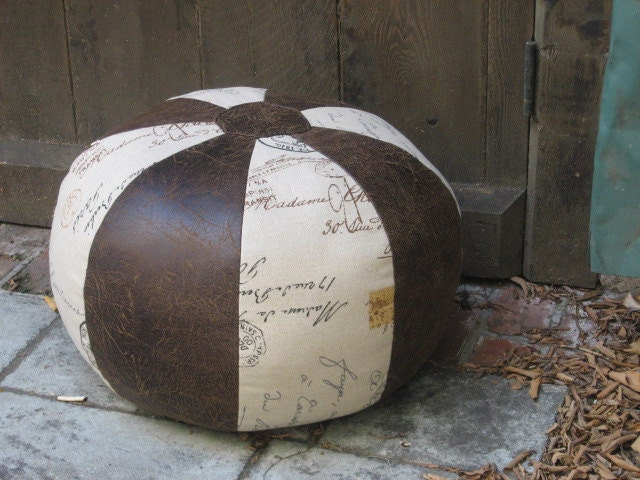 Pouf Ottoman Postage and Leather Foot Stool