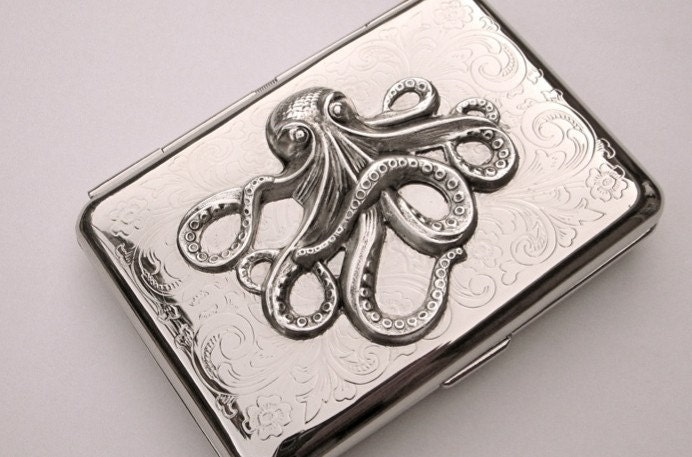 OCTOPUS CIGARETTE CASE CREDIT CARD BUSINESS CARD by CosmicFirefly from etsy.com