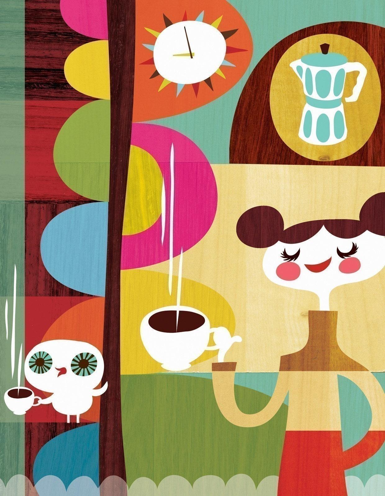 Coffee With My Owl by Helen Dardik