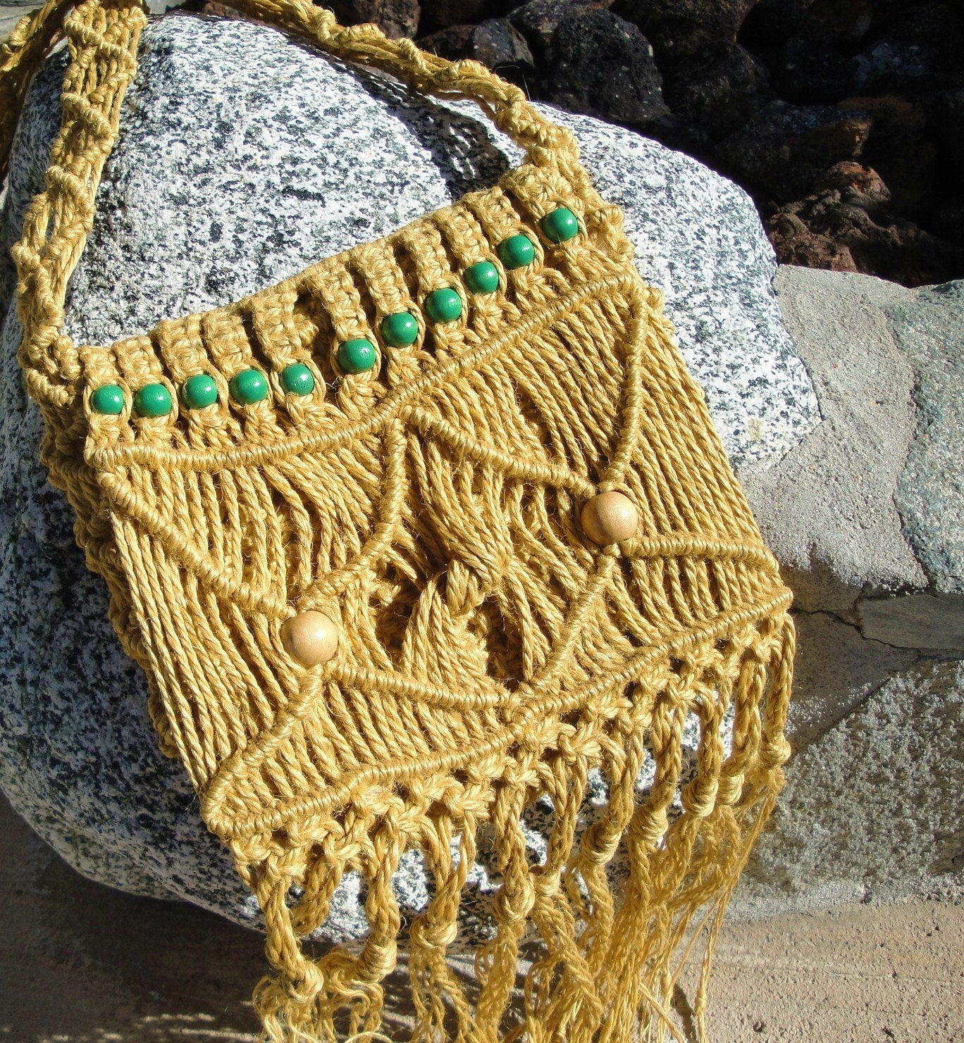 Vintage 70s Macrame Hippie Purse,  Hand Made