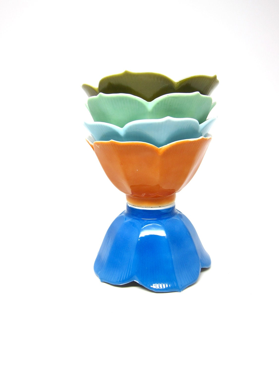 Vintage Lotus Bowls Rice Japanese Orange Green Blue Set - hensfeathers