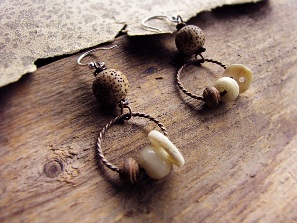 prarie seeds - romantic rustic earrings - mother of pearl bone and wood - primitive eco friendly jewelry