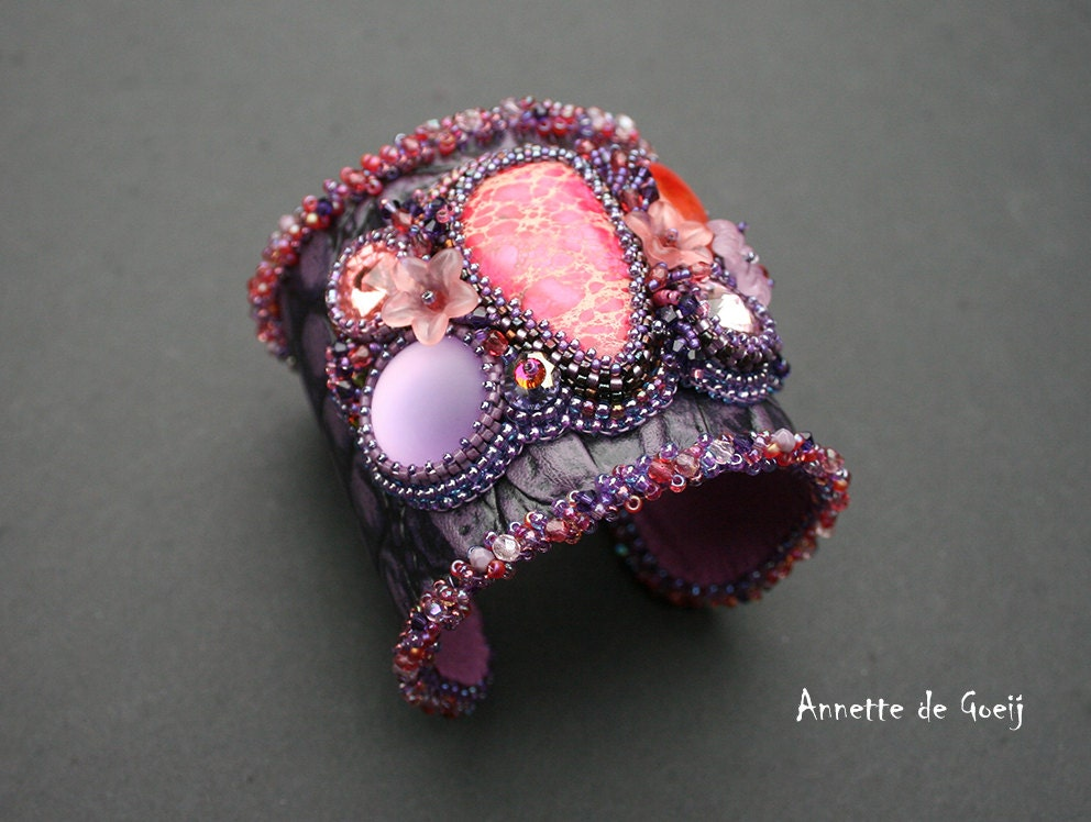 Leather bead embroidered cuff purple pink and by jirikidesigns