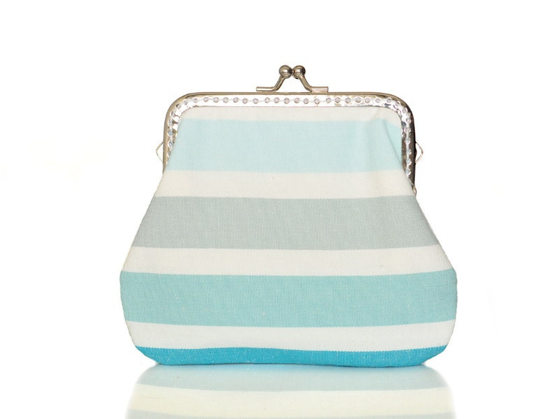 Coin Purse - Framed Clutch Purse - Pastel Stripes - Silver Frame - Blue Purse - shusha64