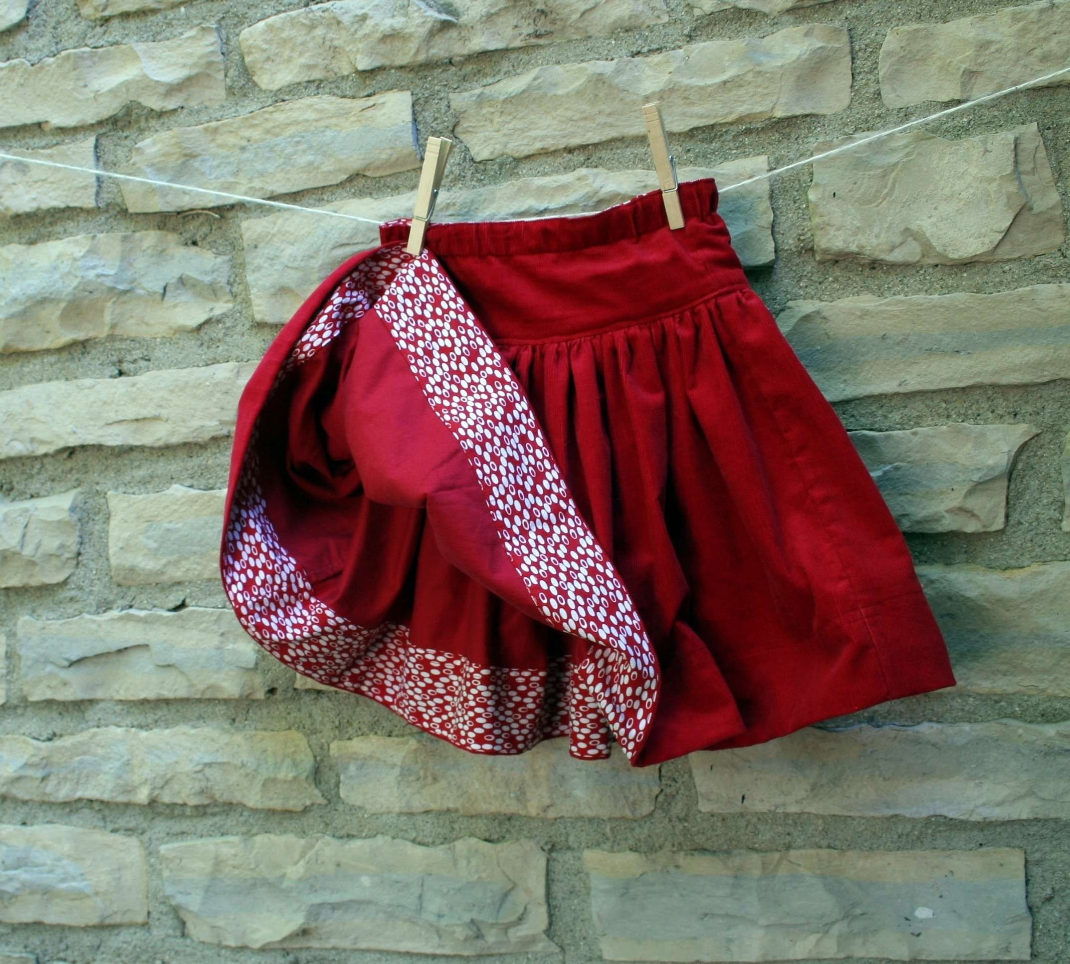 Cherry Red Corduroy Twirl Skirt - Perfect for Valentine's Day