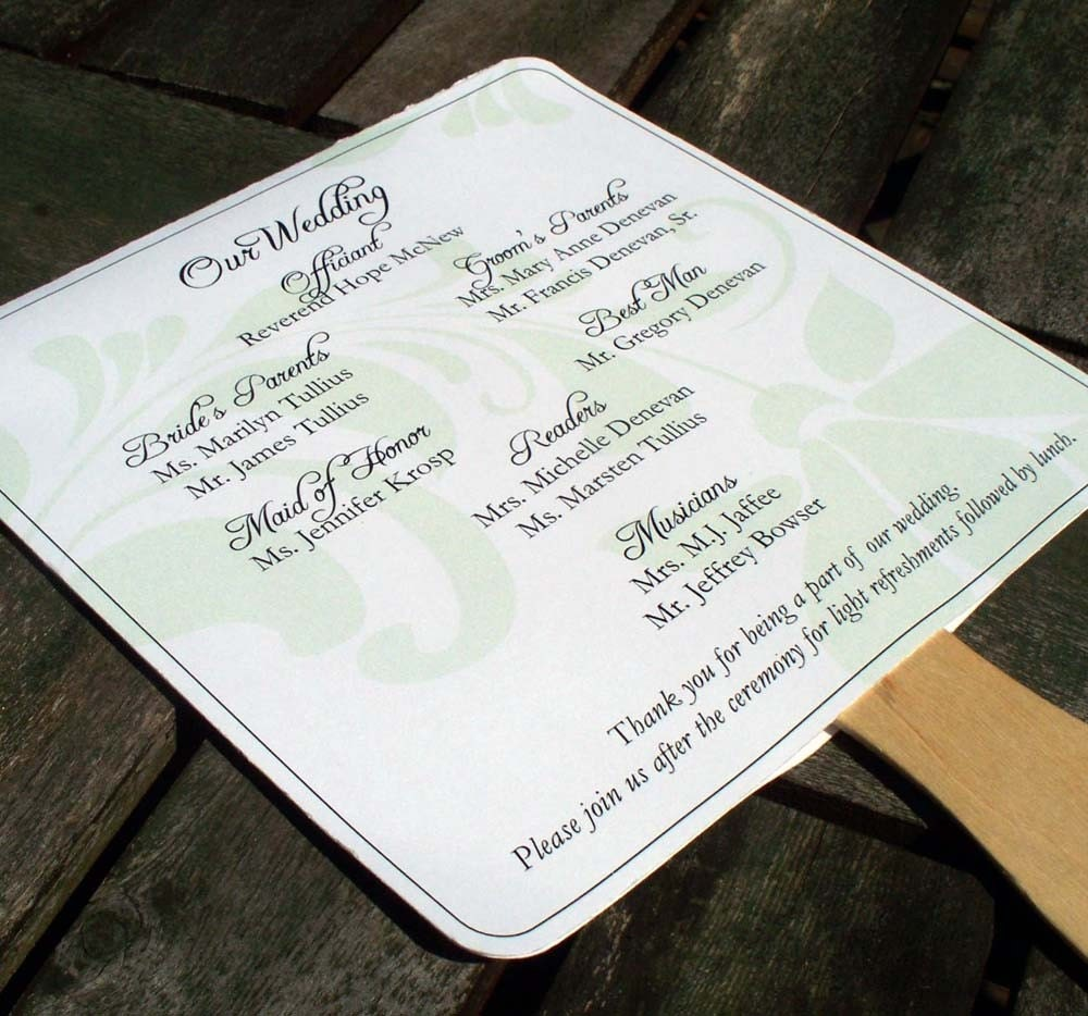 Wedding Program Fans AVAILABLE IN By Edencreativestudio On Etsy
