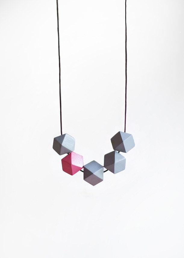 Geometric Necklace /Geometric Jewelry  / Wooden Necklace/  Grey Pink Necklace - BlueBirdLab