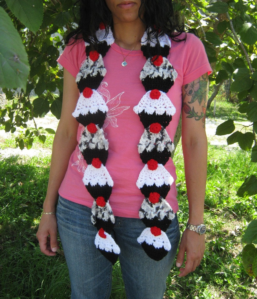 Oreo Cupcake Crochet Scarf by PinkFrog4U on Etsy from etsy.com