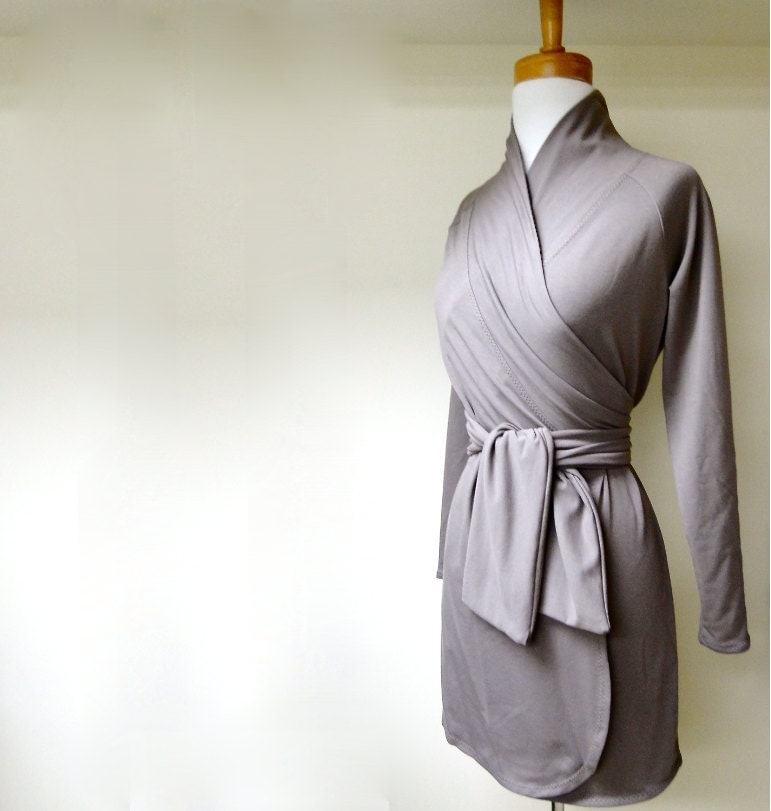 Short wrap dress with shawl collar - organic womens clothes