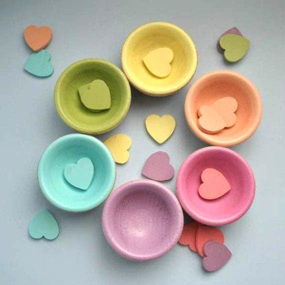 Children Valentine - The ORIGINAL Pastel Wooden Sorting Bowls and Heart Box  with Hearts- Waldorf Toy