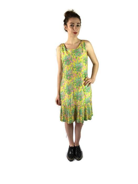 Vintage yellow 60s dress  vintage paisley print drsss  bohemian hippie dress  1960s summer dress  tennis drsss
