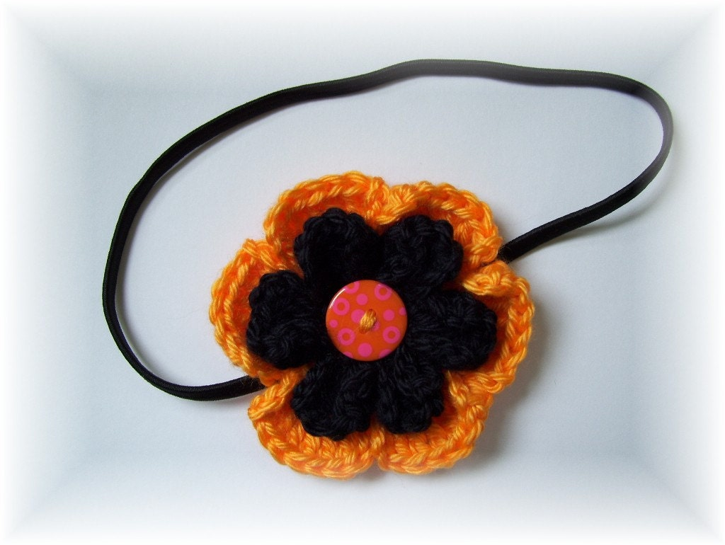 Crocheted Flower Headband Black Orange with Button