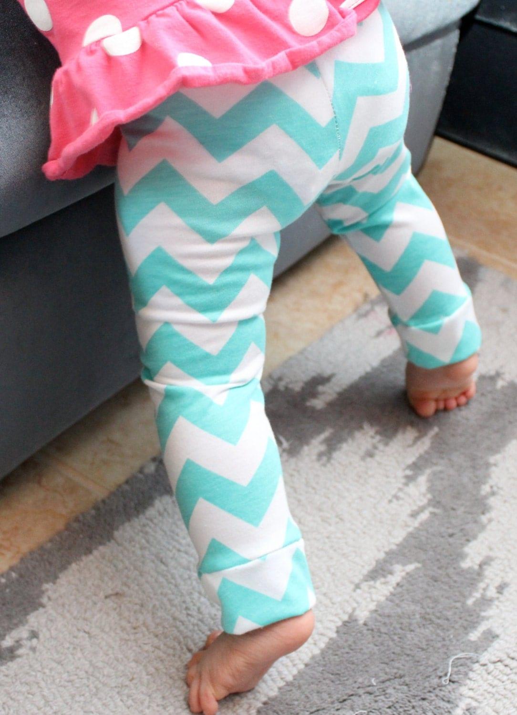 Baby Girl LeggingsTiffany Blue Chevron by SugarPlumLaneBaby