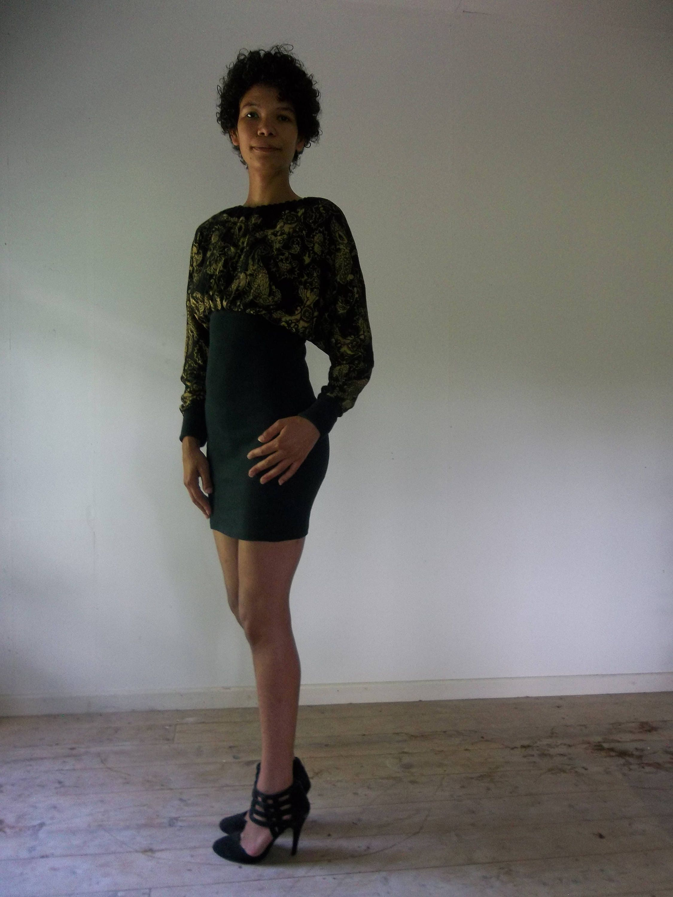Vintage 80s Black And Gold Filigree Batwing Mini Cocktail Bodycon Dress The only working alternative is wild bursts of Madness and Filigree