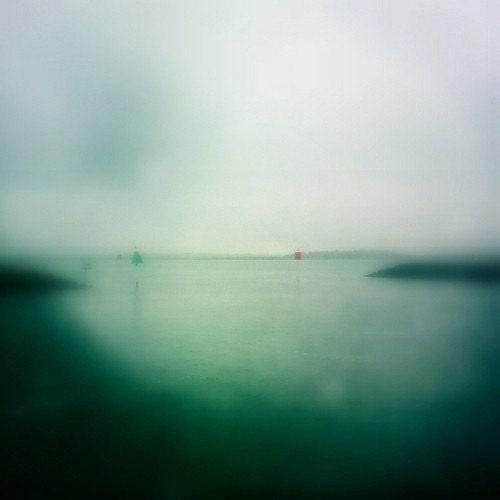 Fine Art Photography Overcast Ocean Fog, Mint Green Ombre Soft Dreamy Beach Decor 4x4 Photo Print - HeyHarriet