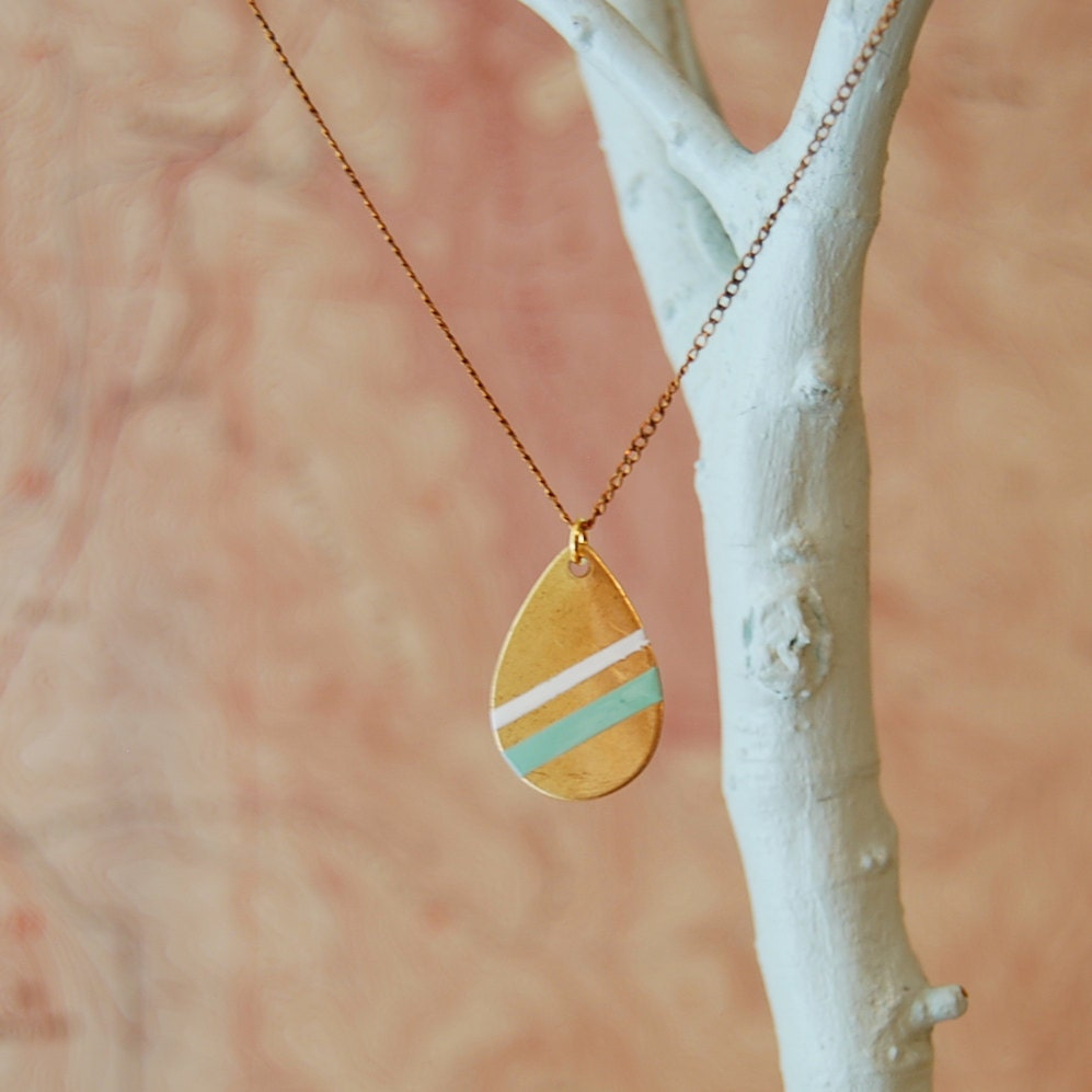 Hand-Painted Large Brass Teardrop Necklace: Seafoam Green & White