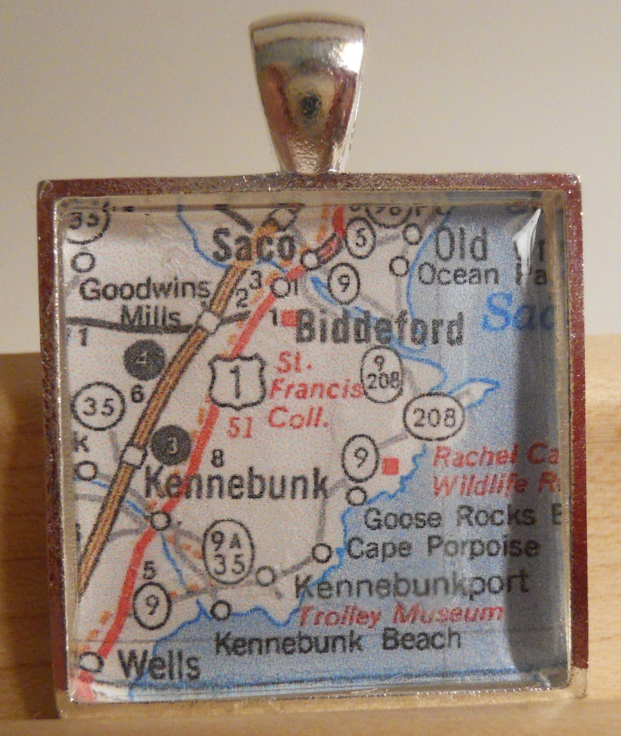 Kennebunkport Maine Map Pendant