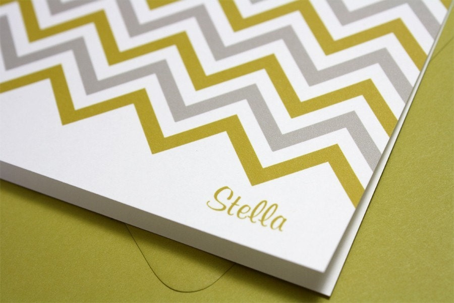 Chevron Stripes - Set of 8 Folded Notecards