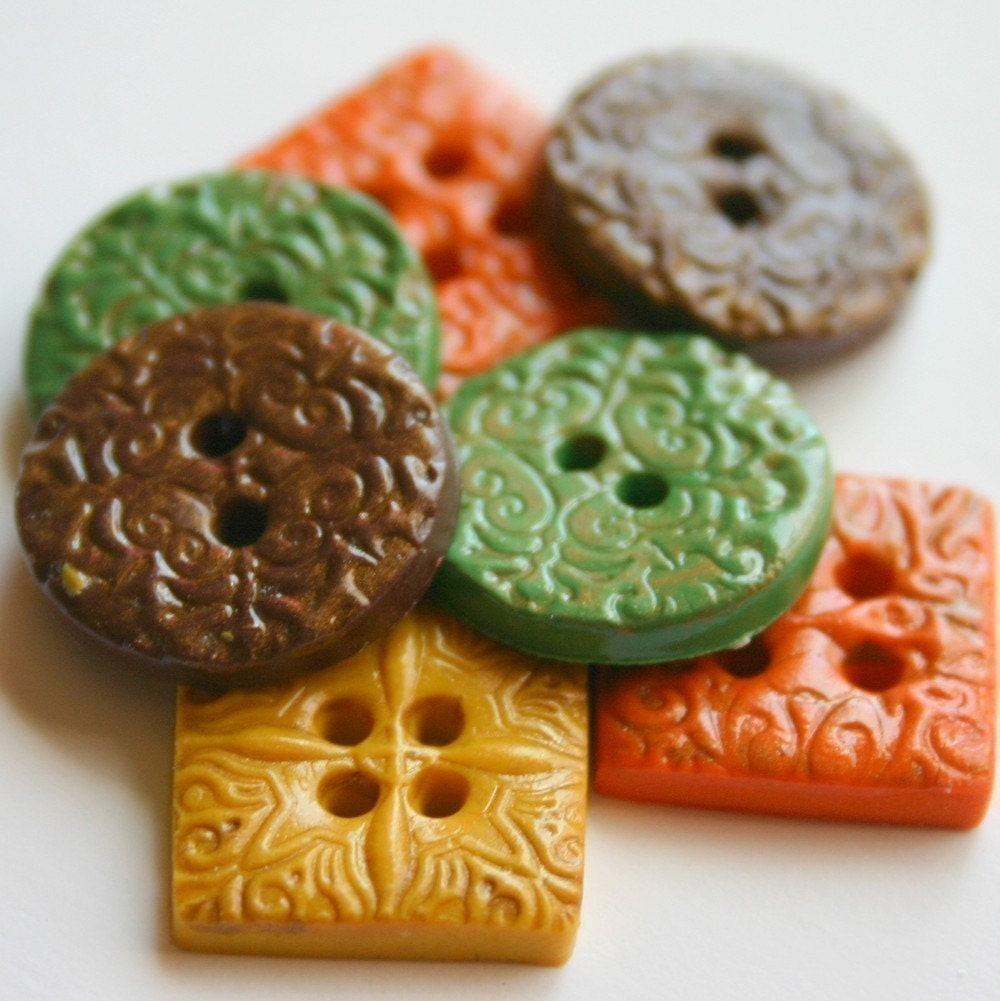 Autumn textures (handmade buttons set of 8)