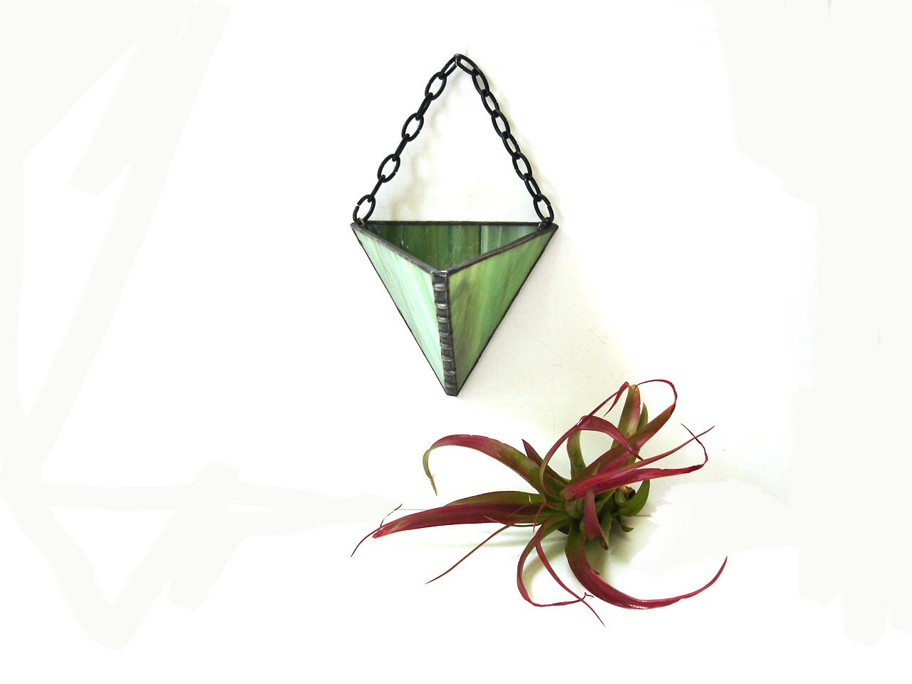 Air plant wall vase hanging holder planter by DesignsStainedGlass