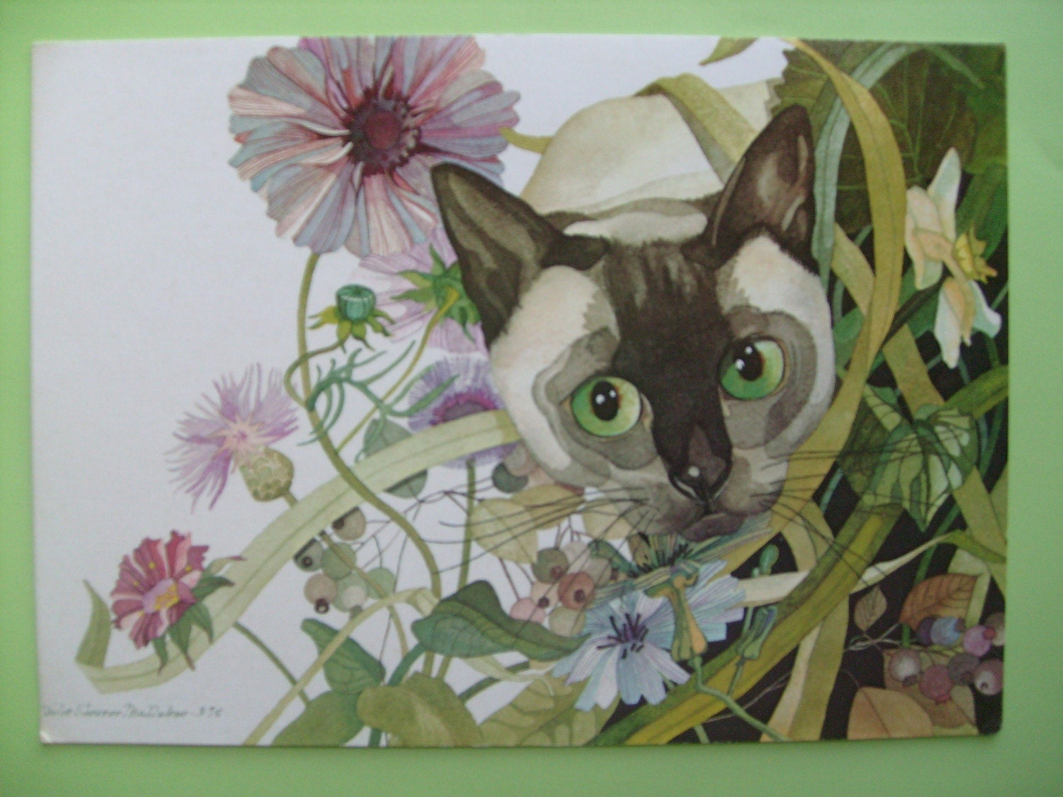 PIF FEATURED IN A TREASURY TODAY VINTAGE SIAMESE CAT GREETING CARD
