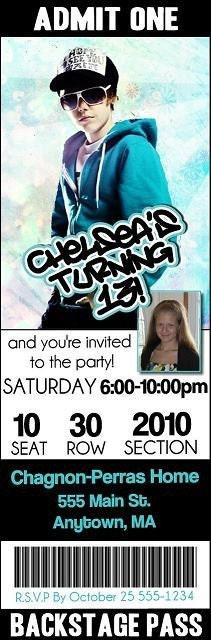 justin bieber birthday invitations. Justin Bieber Birthday