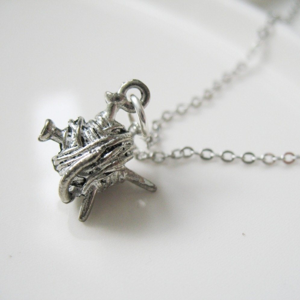 She's Crafty - Knitting Charm Necklace.