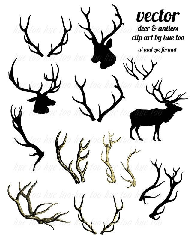 clip art, woodland reindeer antler clipart, deer head silhouette ...